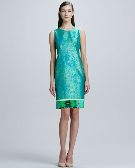 Venezia Printed-Hem Sheath Dress