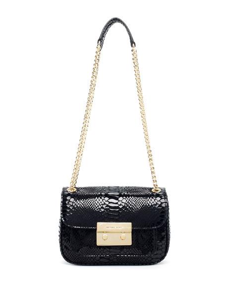 f851a020d5dc93 MICHAEL Michael Kors Sloan Small Python-Embossed Shoulder Bag, Black