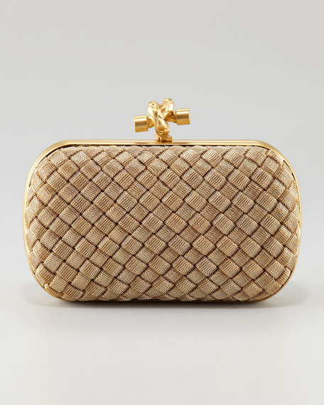 Bottega Veneta Matte Gold Knot Clutch Bag 1dc0d71eb06e7