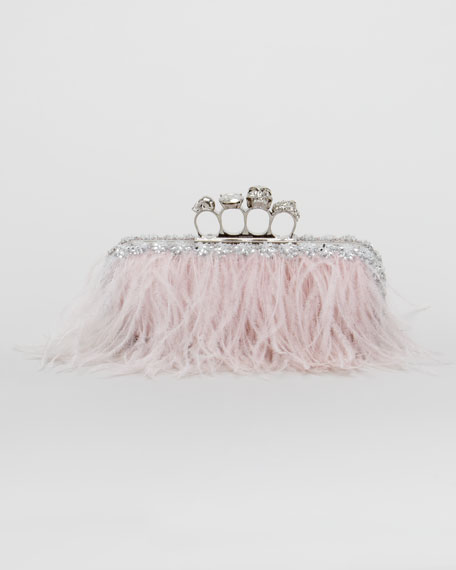 Alexander McQueen Knuckle-Duster Ostrich Feather Clutch Bag 1d4657680c