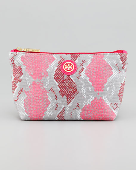 Snake Printed Small Slouchy Cosmetic Bag Carnation