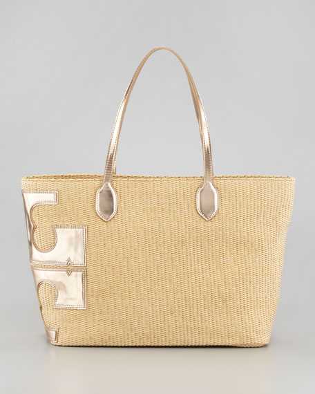 47133b835836 Tory Burch Stacked-T Straw Tote Bag