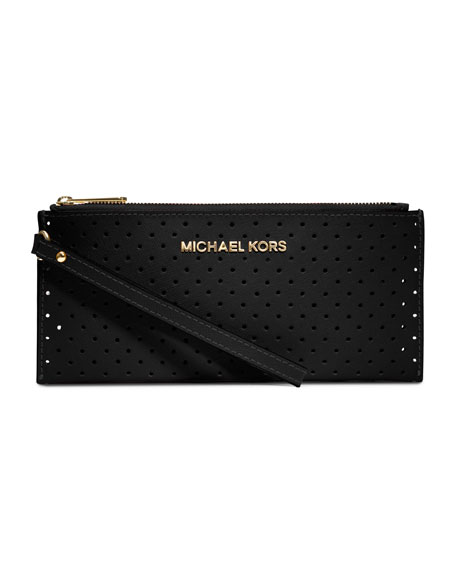 Small Jet Set Perforated Saffiano Clutch