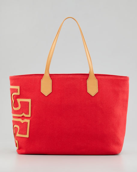 a33530d2e4e Tory Burch Canvas Stacked-T Tote Bag