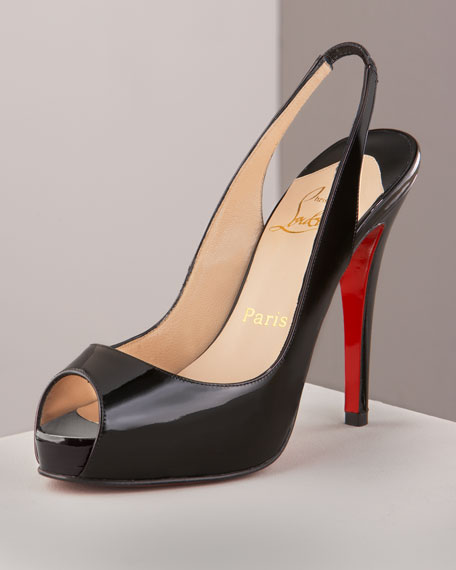 Christian Louboutin Patent Leather Slingback Pumps free shipping release dates new styles for sale LPxO1fjdl4