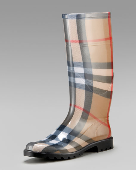 4ad6d2e75a7cc Burberry Check Rain Boot