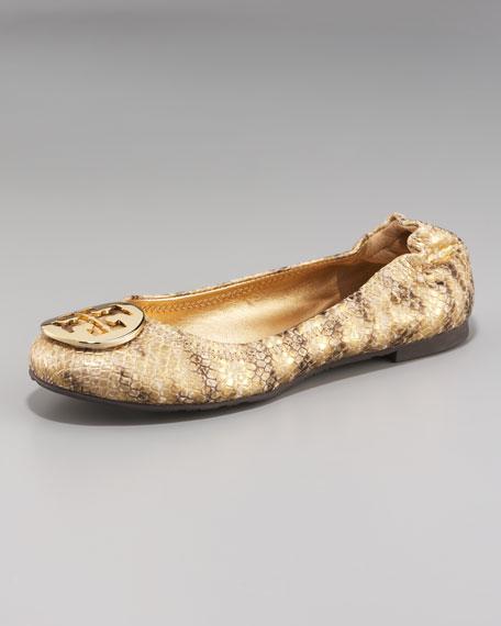 6637c5556b67 Tory Burch Reva Metallic Snake-Print Ballerina Flat