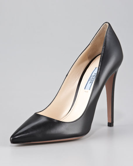 9f86ba0a00 Prada Capretto Leather Pointed-Toe Pump