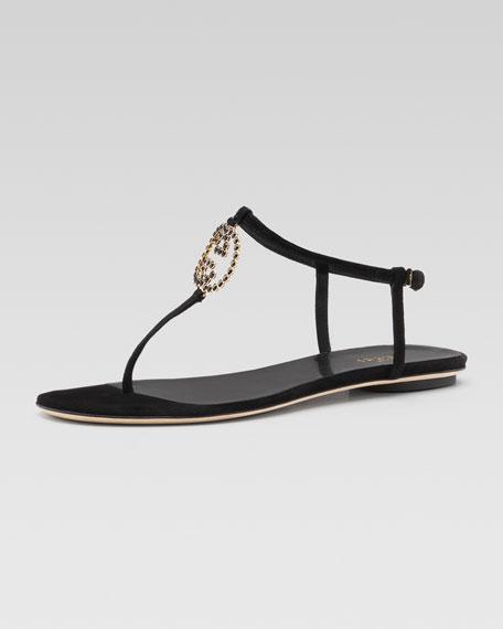 5b3b04dab05 Gucci Metallic GG Thong Sandal