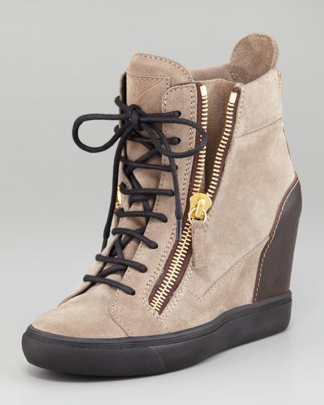 e579603330b Giuseppe Zanotti Suede Wedge Sneaker
