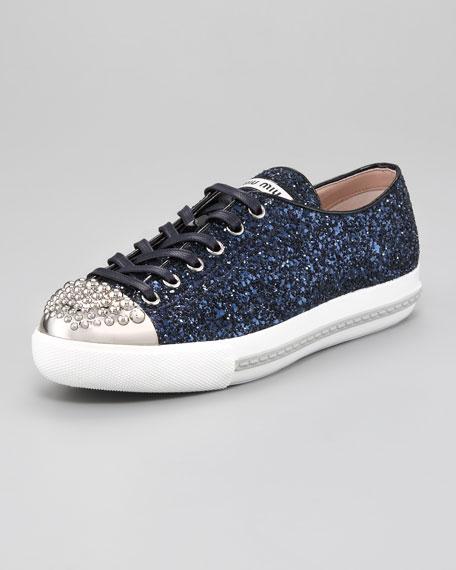 7fa12684bac Miu Miu Studded Cap-Toe Glitter Sneaker