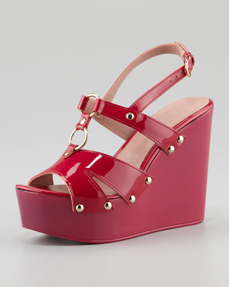 cheap sale marketable original cheap price Red Valentino Patent Leather Slingback Wedges shipping discount authentic TUVlA9Ny