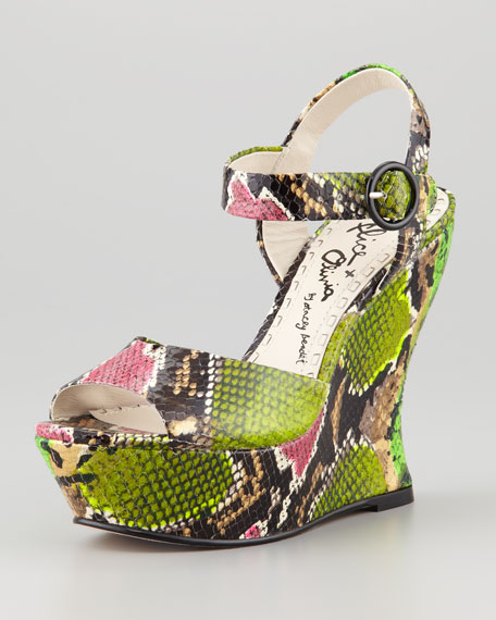 Alice + Olivia Embossed Ankle Strap Wedges clearance countdown package l9hJNJecL