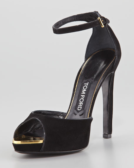 492bb5d06 Tom Ford Screw-Studded Suede Peep-Toe Ankle-Wrap Sandal