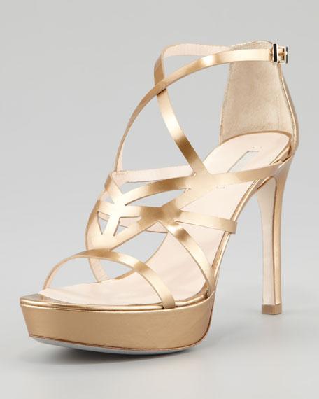 7039257fdfc Giorgio Armani Matte Metallic Strappy Platform Sandal