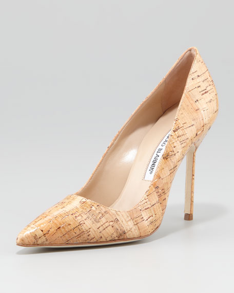 Manolo Blahnik BB Pointed-Toe Cork Pumps