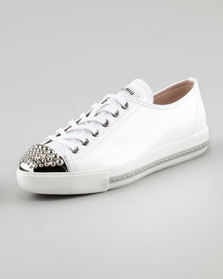 8b4ecd1c8a0e Miu Miu Studded Toe Patent Sneaker