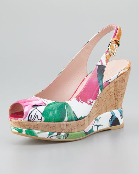 cheap big sale Stuart Weitzman Printed Wedge Sandals outlet best store to get for cheap discount clearance wiki free shipping official rM2YA