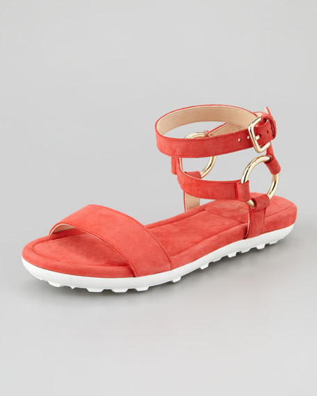 Ringo Ankle-Strap Flat Sandal, Pimiento/Coral