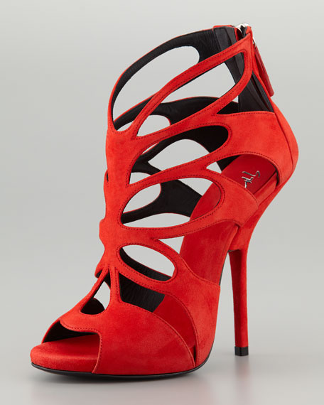 7e4be986b96e2 Giuseppe Zanotti Butterfly Cutout Suede Sandal, Red