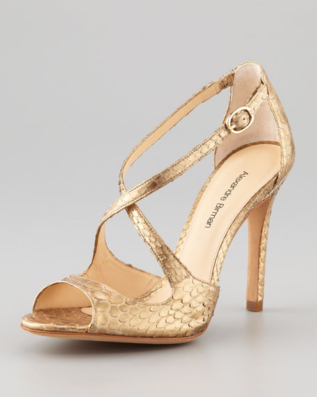 Alexandre Birman Python Metallic Sandals prices online for nice cheap online clearance amazing price cheap sale low price GNMJg