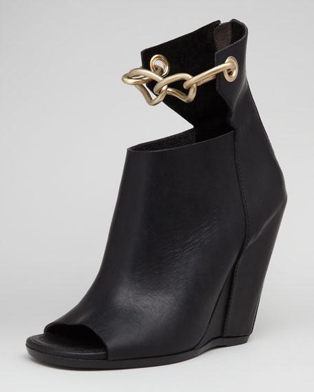 Strap Chain Black Leather Wedge wNn0vOm8
