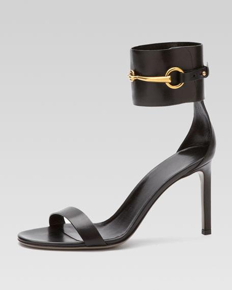 4e5cea25e67 Gucci Horsebit Leather Ankle-Wrap Sandal