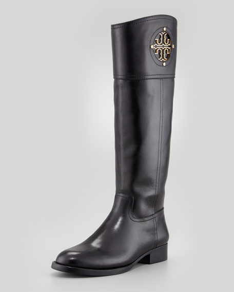 cd602f6662ad82 Tory Burch Kiernan Leather Logo Riding Boot