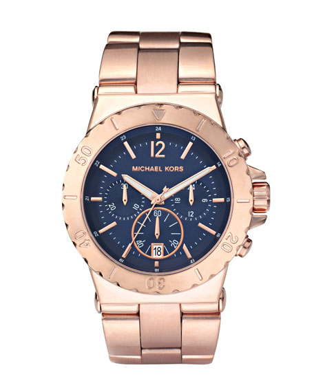 Chronograph Watch, Rose Gold/Navy