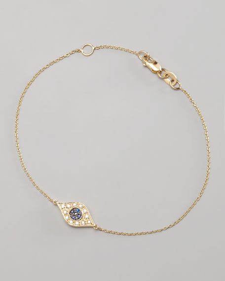 Diamond Evil Eye Bracelet Yellow Gold