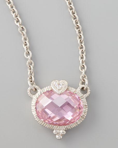 Judith ripka pink heart pendant necklace aloadofball Images