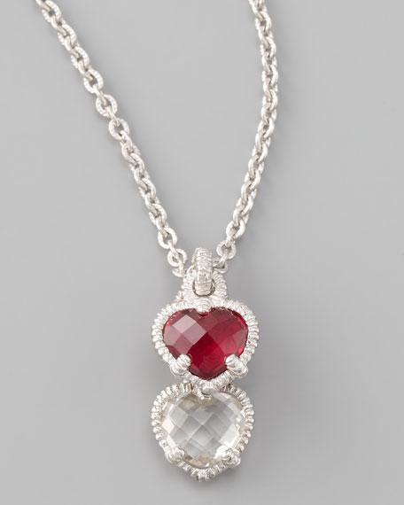 Judith ripka silver twin heart pendant necklace aloadofball Images