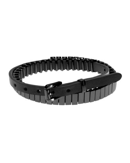 Leather Double Wrap Bracelet Black