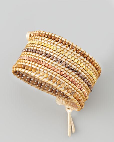 Beaded Wrap Bracelet Tan