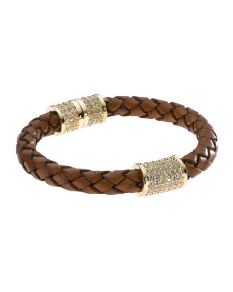 Braided Leather Crystallized Bracelet Golden Luggage