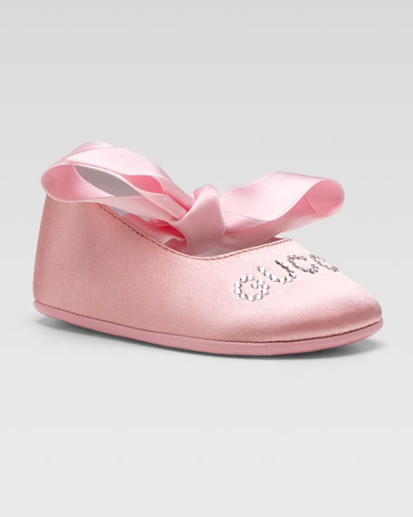 Gucci Blanca Satin Ballerina Flat, Rosso 62a90cd280db