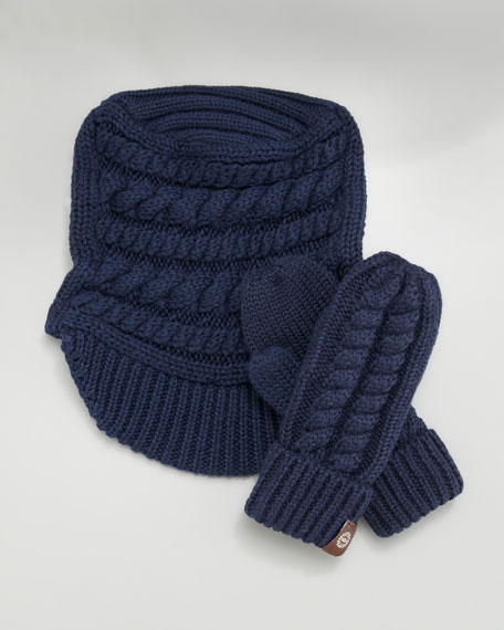 219a0524fd2 Findlay Cable-Knit Hat & Mittens Set Indigo