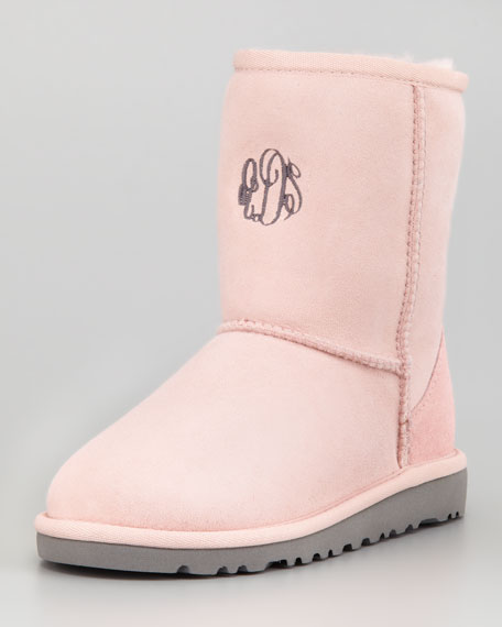 Monogrammed Youth Classic Short Boot, Baby Pink