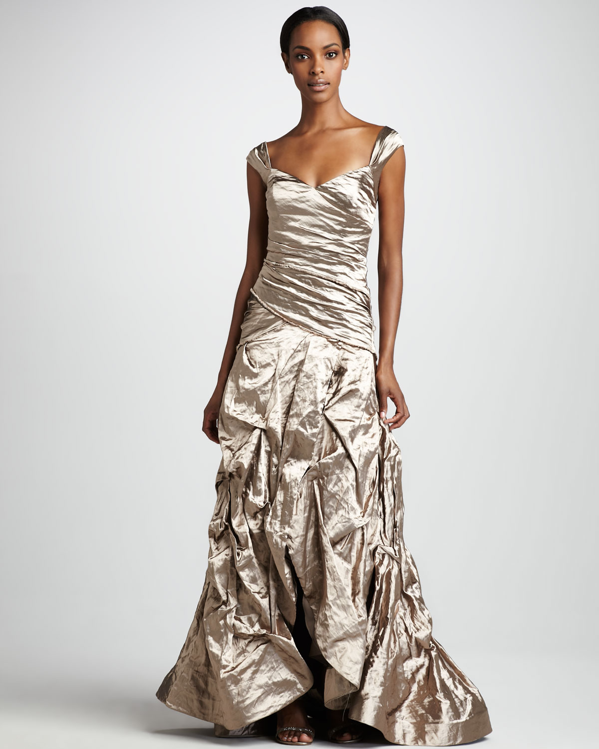 Nicole Miller Ruched Metallic Gown