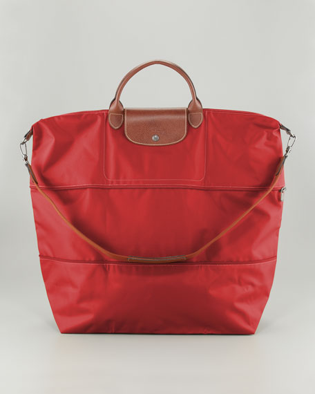 longchamp le pliage expandable monogram travel bag red