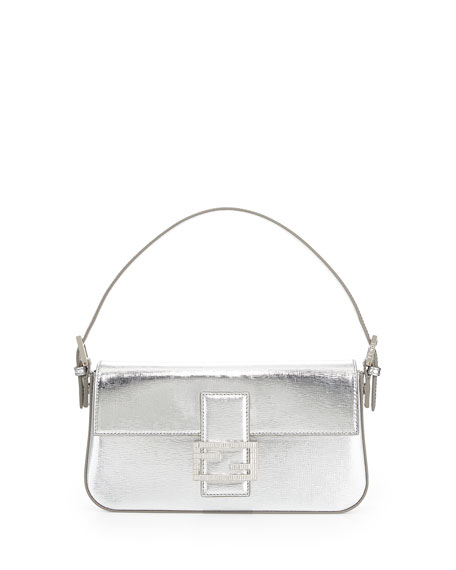 bdf32a0c5f5f Fendi Metallic Leather Baguette Shoulder Bag