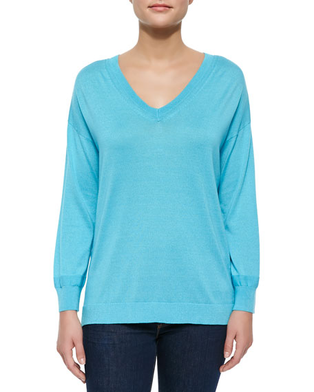 Magaschoni Silk-Cashmere V-Neck Sweater