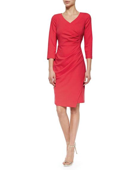 NYDJ Rosella Stretch-Crepe Ruched Sheath Dress