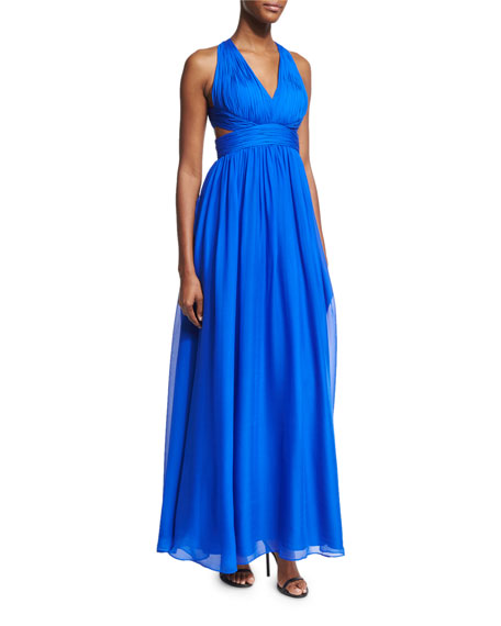 Shirred Silk Chiffon Cutout Gown