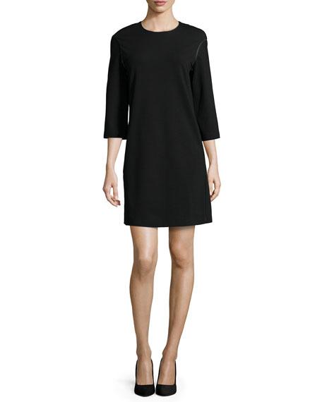 Lafayette 148 New York 3/4-Sleeve Jewel-Neck Shift Dress