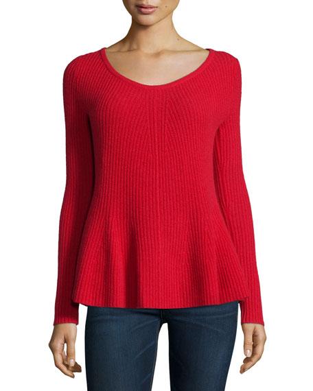 Neiman Marcus Cashmere Collection Peplum Cashmere Sweater