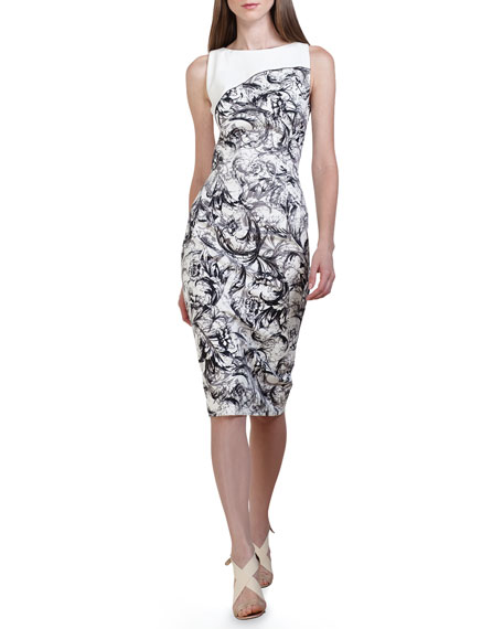 Baroque-Print Stretch Cotton Dress