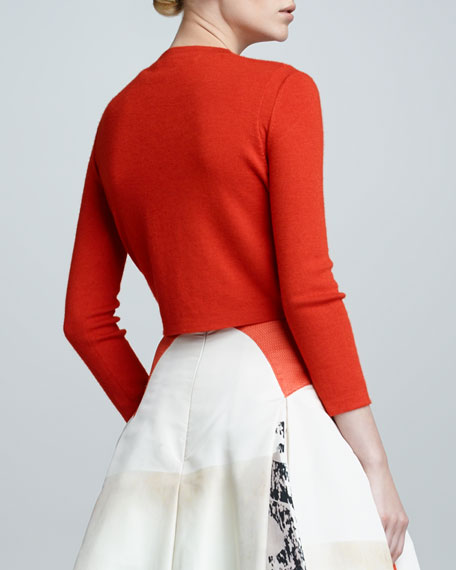 Cropped Cashmere Blend Bolero, Reef Red
