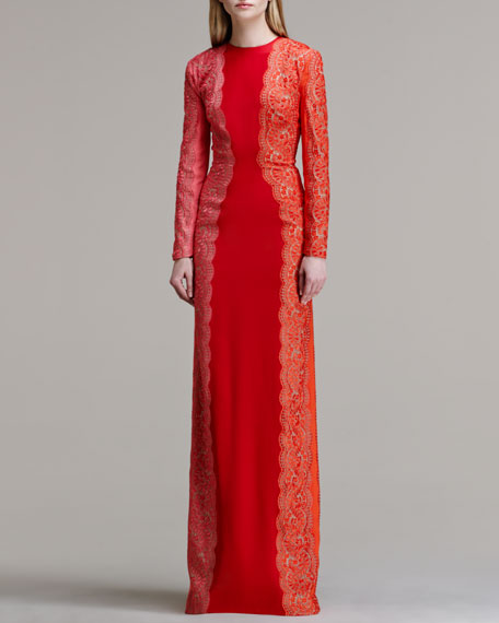 c26716dbe01 Stella McCartney Scallop-Panel Lace Long-Sleeve Gown