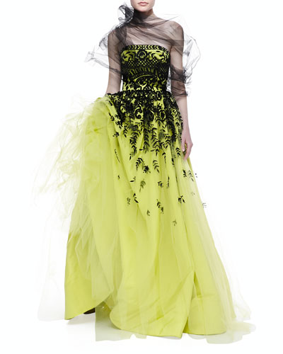 Embroidered Strapless Tulle Gown, Citron/Black